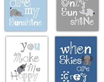 Elephant Art // You Are My Sunshine Art // Blue and Gray Nursery Decor // Elephant Nursery Art // Blue Nursery Decor //4-8x10 PRINTS ONLY