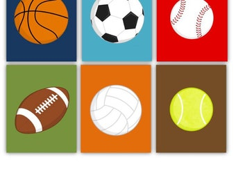 "Sports Art Prints // Sport Nursery Decor //  Sport Balls Wall Art for Kids Room // Sport Balls Prints // 8X10"" (6) Six prints UNFRAMED"