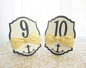 Nautical Wedding Table Numbers in White and Navy Blue - Anchor Cutout - Yellow and White Striped Ribbon - Choose Your Colors