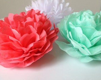 Mothers Day Table Decoe, Petite tissue flowers for table decoration, tissue paper poms, place settings, decorations, wedding table