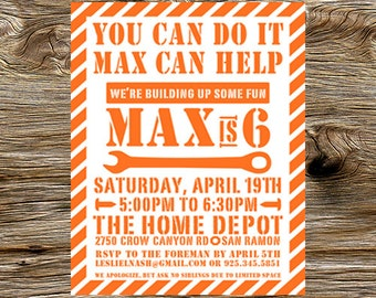 DIY Digital Printable You Can Do It Home Depot Birthday Party Invitations