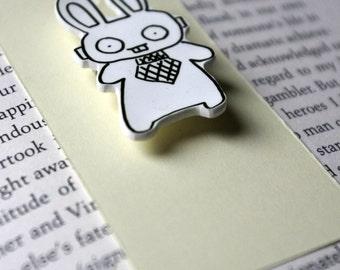 Robot Bunny Rabbit Shrink Plastic Pin