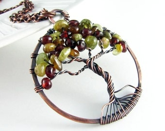 Tree Of Life Necklace Wire Wrapped Jewelry Green And Red Garnet Necklace January Birthstone Wire Wrapped Pendant Copper Jewelry