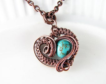 Wire Wrapped Pendant Turquoise and Copper Jewelry Wire Wrapped Jewelry Heart Necklace Copper Necklace Free Form Turquoise