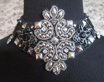 Bib Choker Necklace Black Silver Spiked Rhinestones