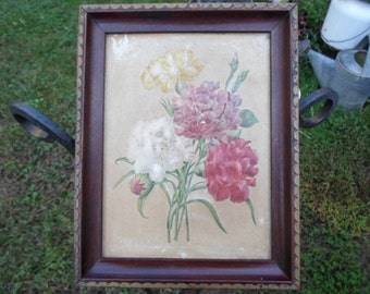 Vintage Shabby Chic Picture in Dark Wood Frame Carved Wooden 1940s Wall Hanging With Puffy Embossed Flowers Carnations Pinks/ White No Glass