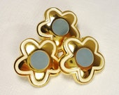 "Grey-Eyed Daisies: Gorgeous High Quality 7/8"" (22mm) Metal and Enamel Flower Buttons - Set of 3 New / Unused Matching Buttons"