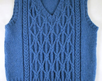 Vest / Tank Top / Gilet for a child 8 - 10 yrs Wool Blue Hand Knitted