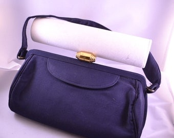 Vintage 50s Navy Grosgrain Fabric Evening Handbag or Purse Mad Men Purse Womens Birthday Gift or Vintage Gift for Her