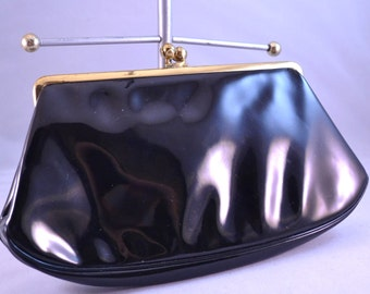 Vintage 60s Coblentz Original Black Patent Leather Clutch Perma Plastic Label Mad Men Clutch Womens Birthday Gift or Special Gift for Her