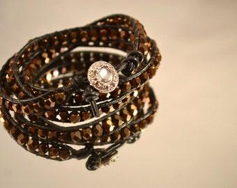 Handmade Black Leather and Bronze Brown Beads Wrap Boho Bracelet Three Wrap Czech Glass Beads Bracelet Valentines Day Gifts