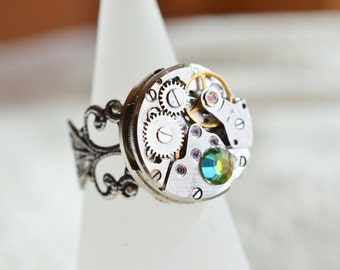 steampunk ring, watch ring, silver filigree adjustable ring, victorian steampunk jewelry, statement ring, clockwork gift, best friend gift