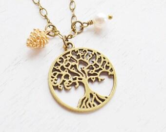 tree of life jewelry, pine cone necklace, christmas, winter jewelry, tree necklace, aunt necklace, family necklace, tree pendant, bridesmaid