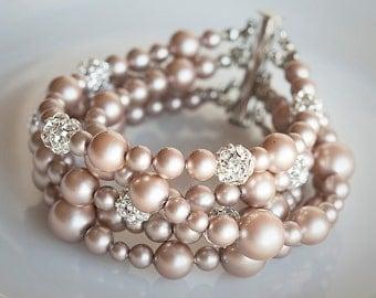 Wedding Bracelet, Pearl Bridal Bridal Bracelet, Crystal Rhinestone Bracelet Cuff, Modern Vintage Style Bridal Wedding Jewelry, ALLISON