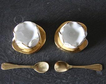 Antique French Condiment Set Salt Pepper / Caviar Set with Spoons Made by Robj Original Box