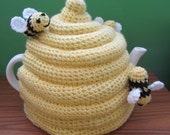 Large Crochet Beehive with Bees Tea Cosy ~ Made to Order