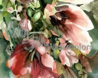 "Red & Pink Fuchsia Hollyhock Flowers in Patio Garden Watercolor Picture  Painting Print, Wall Art, Home Decor, ""Hollyhocks"" by Judith Stein"