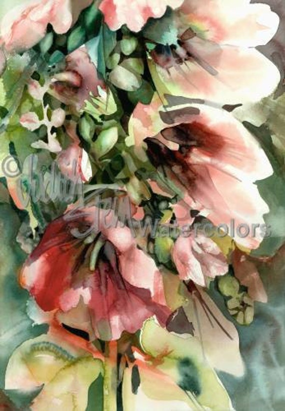 """Red & Pink Fuchsia Hollyhock Flowers in Patio Garden Watercolor Picture  Painting Print, Wall Art, Home Decor, """"Hollyhocks"""" by Judith Stein"""