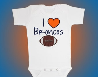 Baby Bodysuit Jersey Shirt - I Love Broncos Football Applique - Embroidered Short or Long Sleeved - Free Shipping
