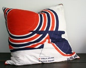 SALE- Gigantic Vintage Cruise Ship Scarf Floor Pillow