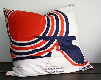 SALE- Gigantic Vintage Cruise Ship Scarf Floor Pillow