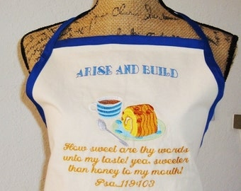 "Apron Coffee Cake Embroidered..."" Thy Word is Sweeter than Honey"""