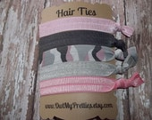 FOE Elastic Hair Ties Pink and Gray Camo Collection Toddlers Girls Women -Set of 5-