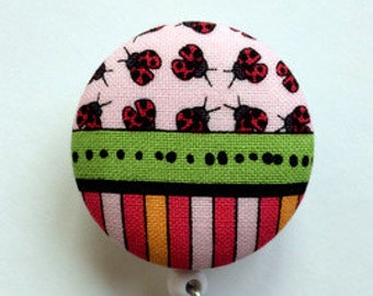 Fabric Badge Reel - Ladybug Badge Reel - Badge Holder - ID Badge Holder - Retractable Name Badge - Nurse Gift - Name Badge - Pink and Green
