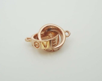 F-459. Pink Gold Plated, Infinity, 'LOVE' Connector
