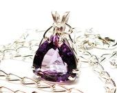 "Amethyst, amethyst pendant, purple, purple amethyst,  pendant, purple trillion,  "" Please pass the Jelly"""