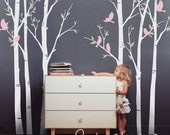 Wall decals, The Birch Tree Forest with Birds - Removable Wall Vinyl Decal