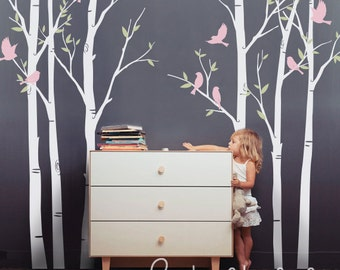 The Trees and birds Wall decal - baby girls Wall Decor