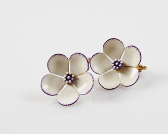 Vintage White and Purple Clip On Earrings