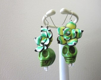 Sugar Skull Earrings Green Black Flower