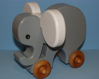 Wooden Toy Elephant on the Go - BABY WHITE ears