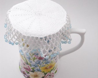 Crochet Beaded Jug Cover with Pale Blue Beads, Beaded Glass Cover ...