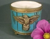 Vintage Mid Century 1970s Gold Eagle Drum Planter Flowerpot Patriotic Americana Military Home Decor