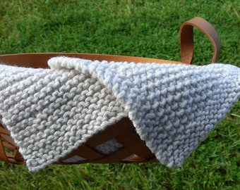 Ecru Spa Washcloths 100% cotton hand knit in a textured soft spa color