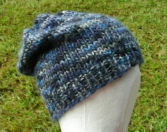 Slouch Hat, Tam, Beanie, Beret, Stocking Cap Blue Navy Light Blue Multicolored