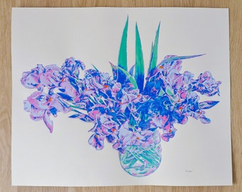 """Huge Original Screen Print Hand Pulled Very Limited Edition Iris Flowers Bouquet Fine Art 26"""" in."""