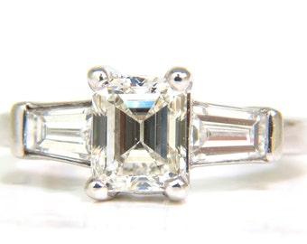 GIA 1.56CT Brilliant Emerald Cut Diamond Ring J/Vvs2 Solitaire W Accents