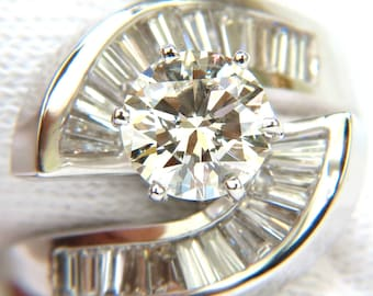 2.96CT Round Cut Diamond Crossover Baguette Ring VS Classic