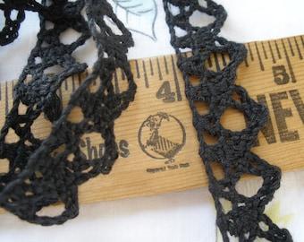 "Crochet look Black Cotton Filet Lace Trim 3 yard lots 5/8"" wide Vintage cotton lace scalloped edge retro yardage cluny"