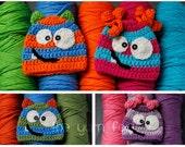 Newborn, Infant, Child Size Happy Little Monster Crochet Hat