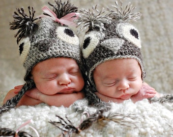 Twin Owl Hats for Newborn Boy and Girl in Natural Undyed Gray Alpaca