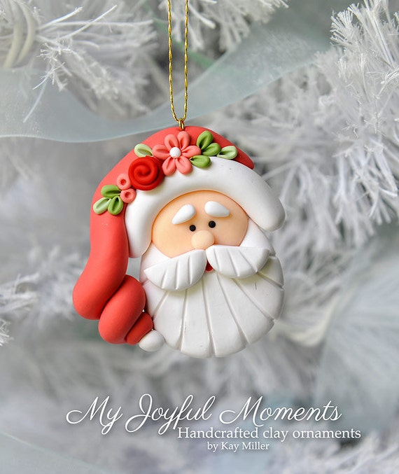 Polymer Clay Christmas Ornament: Handcrafted Polymer Clay Santa Claus Ornament