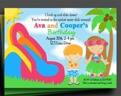 Waterslide Luau Invitation Printable or Printed with FREE SHIPPING  - You pick boy/girl or both, hair color/style & skin tone