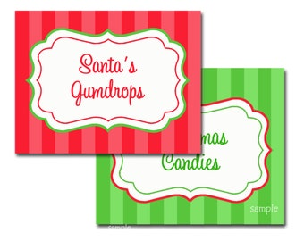 Christmas Buffet Labels Printable - Tent Style and Card - Instant Download