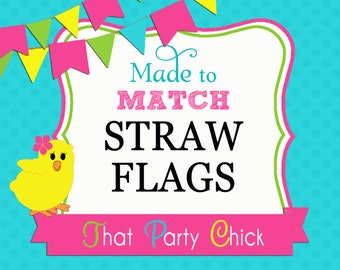 Straw Flags Made to Match Printable by That Party Chick