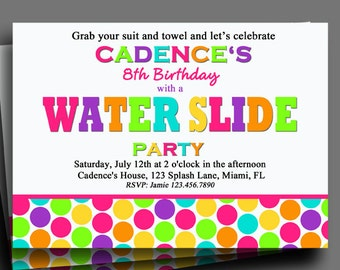 Water Slide Invitation Printable or Printed with FREE SHIPPING - Splash, Pool Party, Swim Party - Rainbow Pool Party